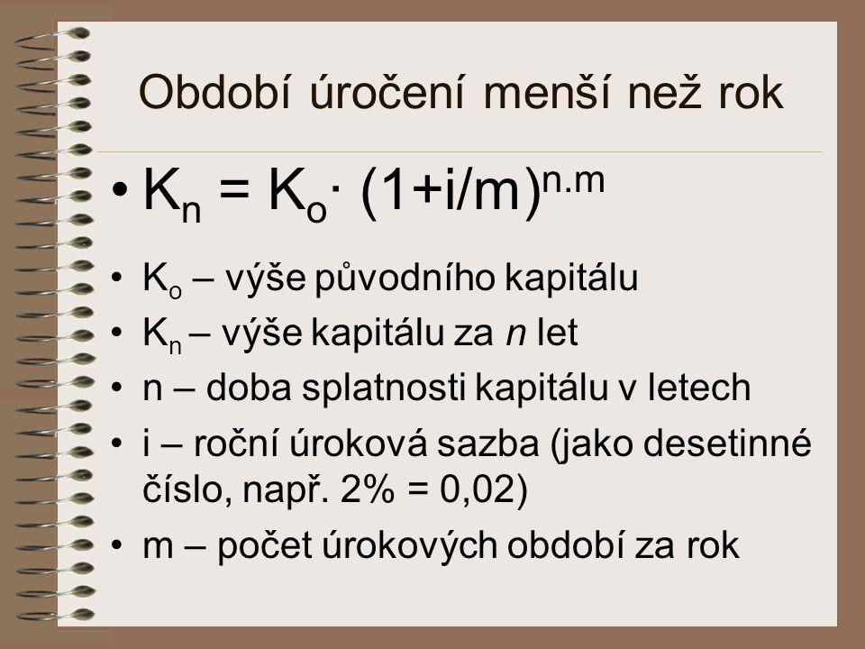 Období úročení menší než rok •K n = K o · (1+i/m) n.m •K o – výše původního kapitálu •K n – výše kapitálu za n let •n – doba splatnosti kapitálu v let