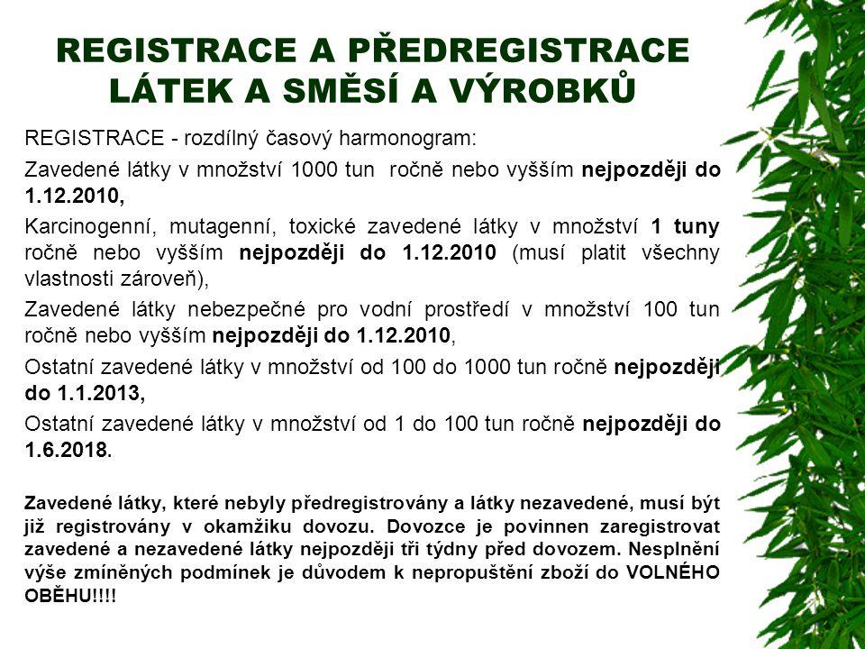 REGISTRACE A PŘEDREGISTRACE LÁTEK A SMĚSÍ A VÝROBKŮ REGISTRACE - rozdílný časový harmonogram: Zavedené látky v množství 1000 tun ročně nebo vyšším nej