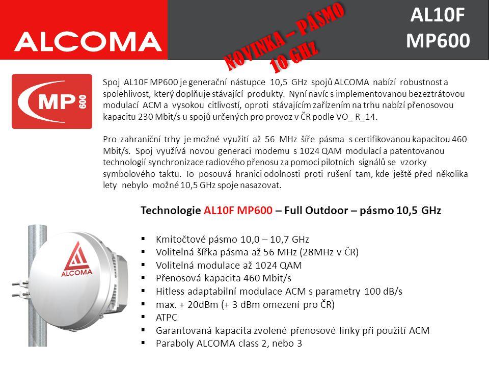 Technologie AL10F MP600 – Full Outdoor – pásmo 10,5 GHz  Kmitočtové pásmo 10,0 – 10,7 GHz  Volitelná šířka pásma až 56 MHz (28MHz v ČR)  Volitelná