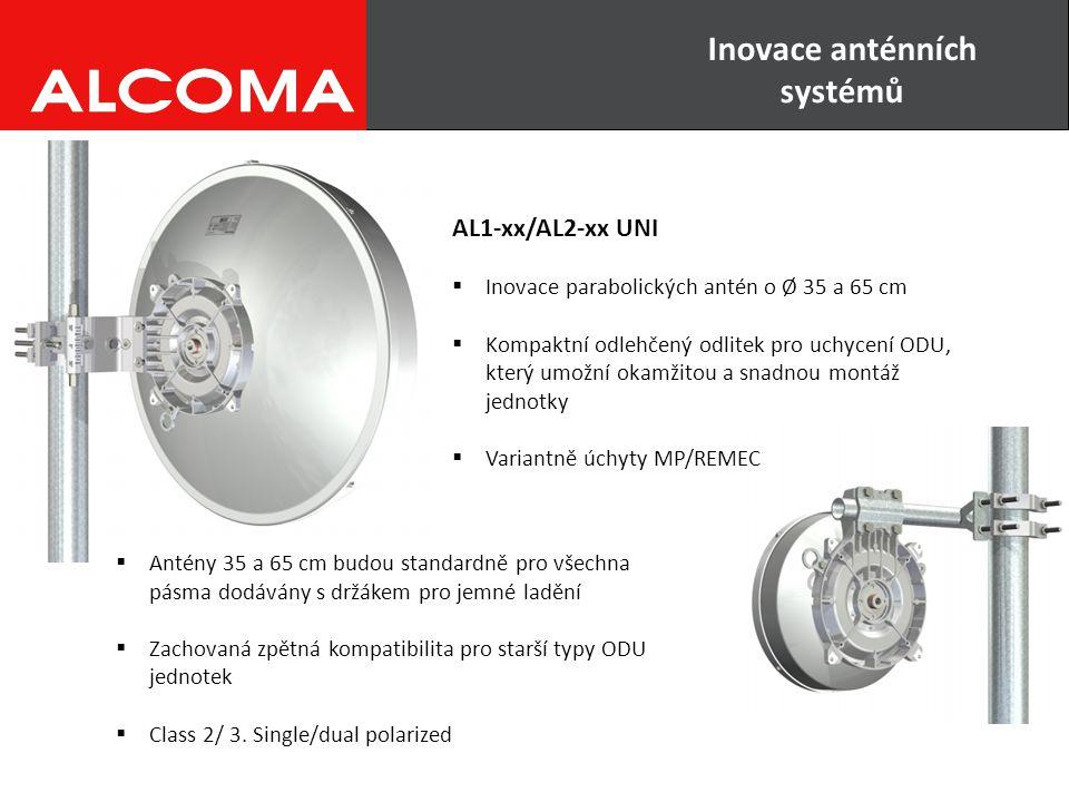 AL1-xx/AL2-xx UNI  Inovace parabolických antén o Ø 35 a 65 cm  Kompaktní odlehčený odlitek pro uchycení ODU, který umožní okamžitou a snadnou montáž