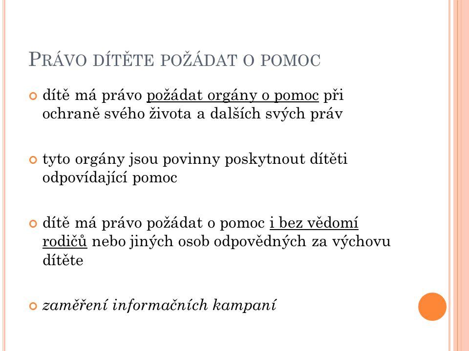 P RÁVO DÍTĚTE POŽÁDAT O POMOC dítě má právo požádat orgány o pomoc při ochraně svého života a dalších svých práv tyto orgány jsou povinny poskytnout d