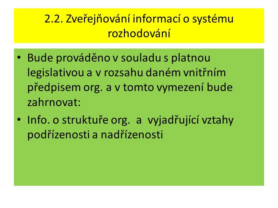 2.2. Zveřejňování informací o systému rozhodování • Bude prováděno v souladu s platnou legislativou a v rozsahu daném vnitřním předpisem org. a v tomt