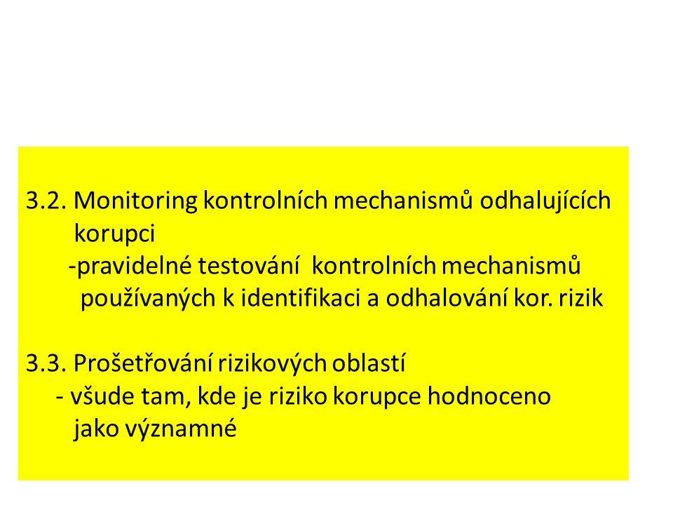3.2. Monitoring kontrolních mechanismů odhalujících korupci -pravidelné testování kontrolních mechanismů používaných k identifikaci a odhalování kor.