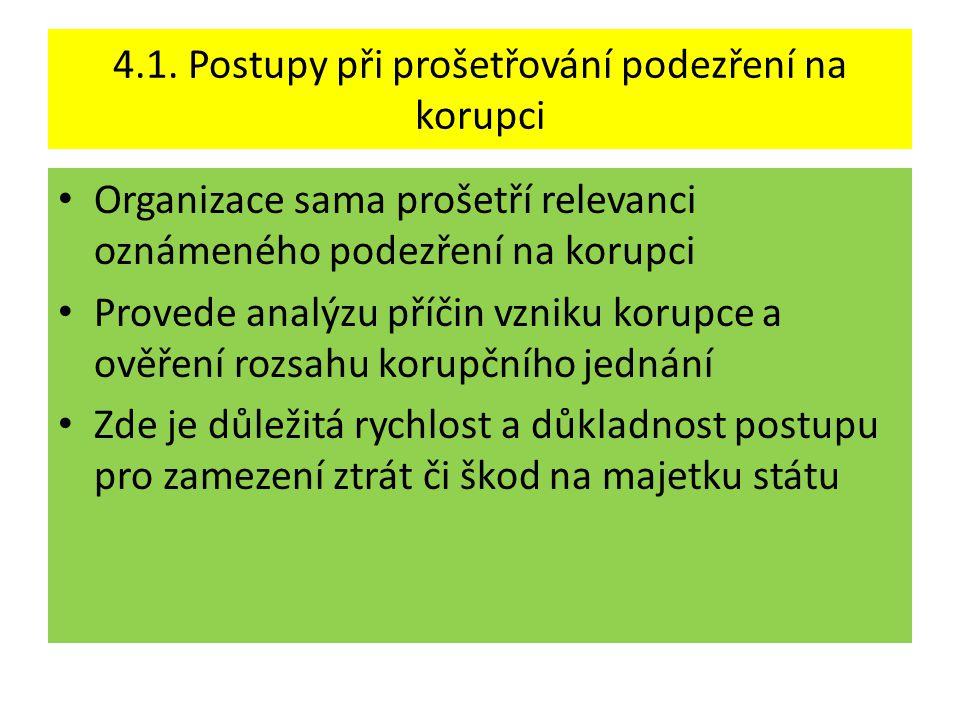 4.1. Postupy při prošetřování podezření na korupci • Organizace sama prošetří relevanci oznámeného podezření na korupci • Provede analýzu příčin vznik