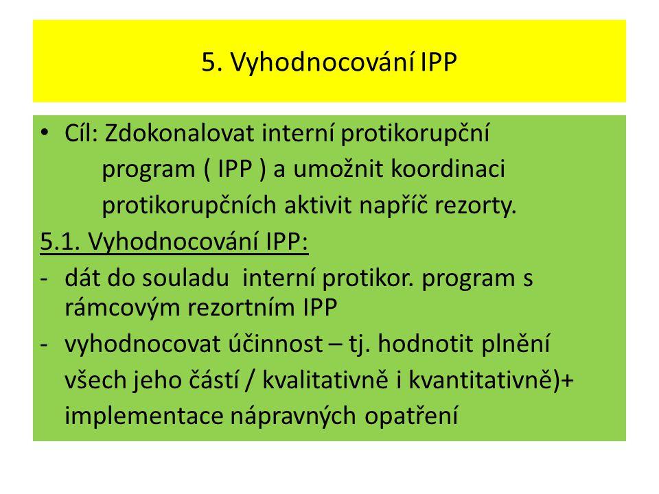 5. Vyhodnocování IPP • Cíl: Zdokonalovat interní protikorupční program ( IPP ) a umožnit koordinaci protikorupčních aktivit napříč rezorty. 5.1. Vyhod