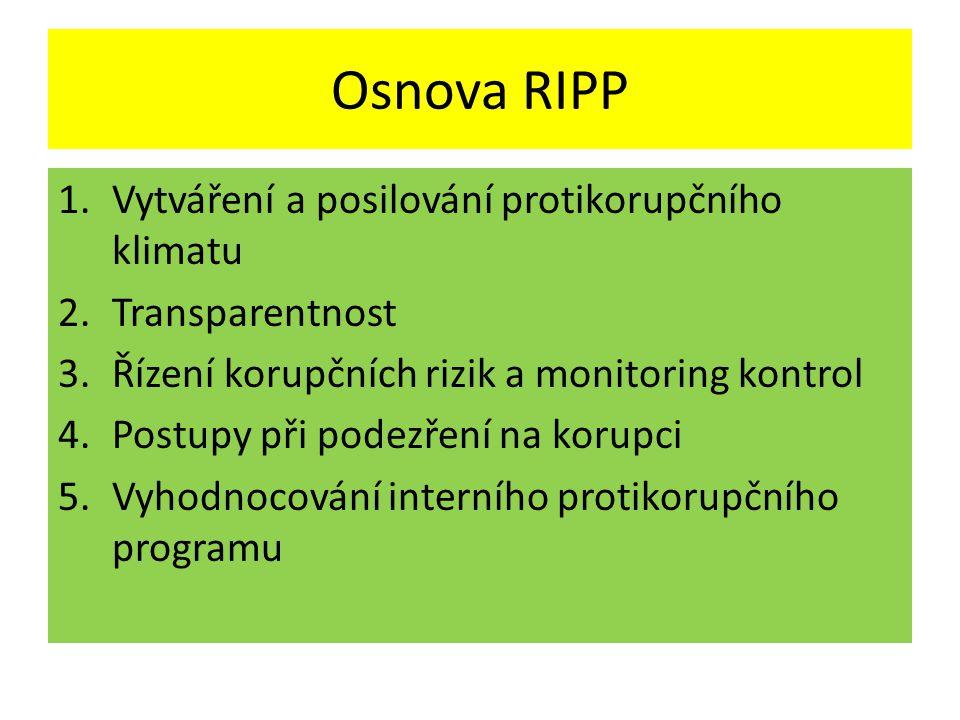 Osnova RIPP 1.Vytváření a posilování protikorupčního klimatu 2.Transparentnost 3.Řízení korupčních rizik a monitoring kontrol 4.Postupy při podezření na korupci 5.Vyhodnocování interního protikorupčního programu