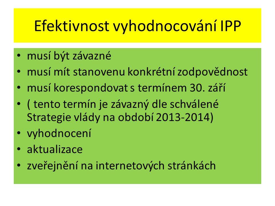 Efektivnost vyhodnocování IPP • musí být závazné • musí mít stanovenu konkrétní zodpovědnost • musí korespondovat s termínem 30.