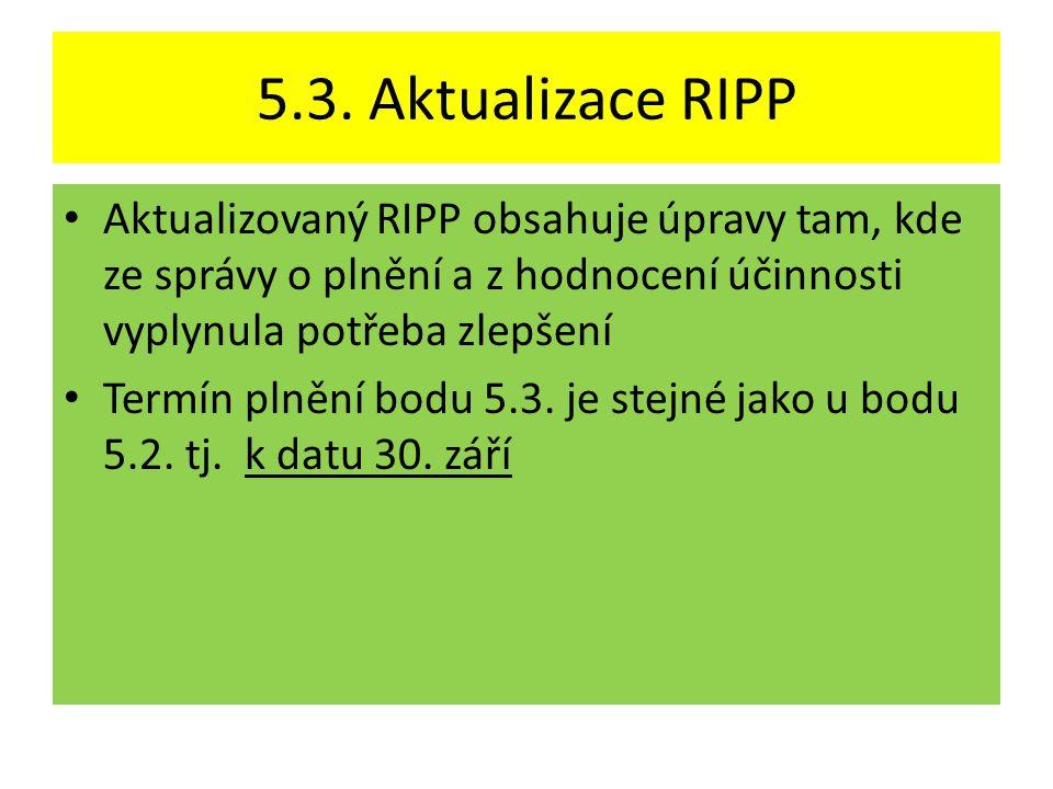 5.3. Aktualizace RIPP • Aktualizovaný RIPP obsahuje úpravy tam, kde ze správy o plnění a z hodnocení účinnosti vyplynula potřeba zlepšení • Termín pln