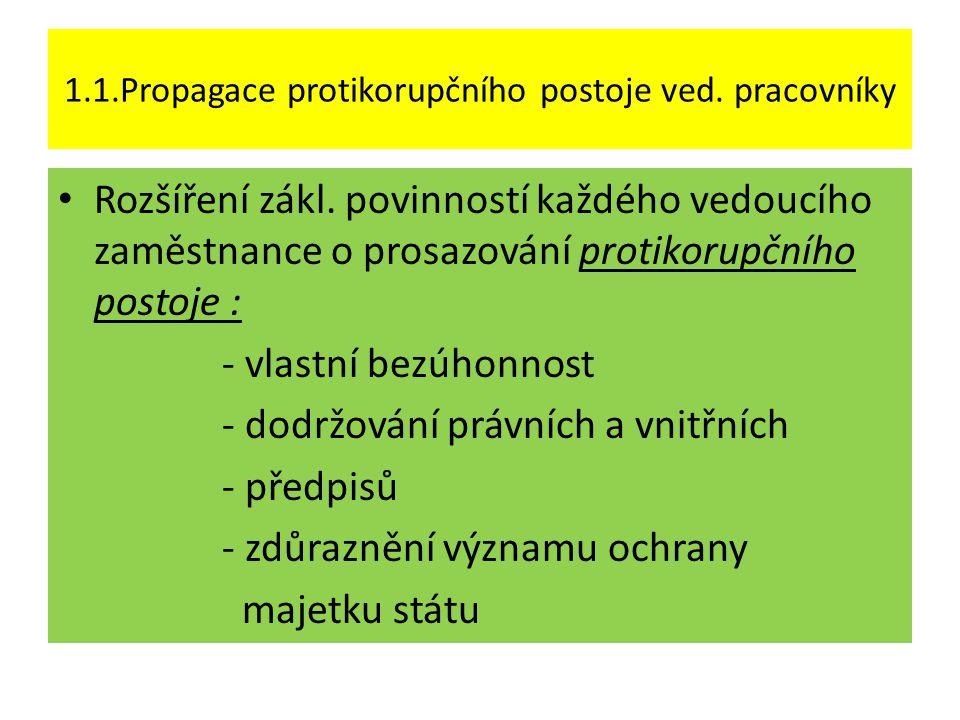 -důležitost existence a dodržování etických zásad při výkonu práce -propagace jednání odmítajícího korupci -důslednost při prošetřování podezření na korupci -vyvození adekvátních opatření v případě prokázání prošetřovaných skutečností ( zvýšit aktivitu vedoucích zaměstnanců na školících akcích zaměřených na protikorupční problematiku – toto více uplatňováno v soukromoprávním sektoru )