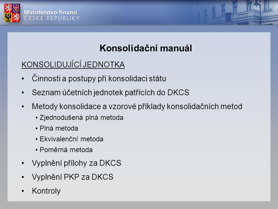 KONSOLIDUJÍCÍ JEDNOTKA •Činnosti a postupy při konsolidaci státu •Seznam účetních jednotek patřících do DKCS •Metody konsolidace a vzorové příklady ko