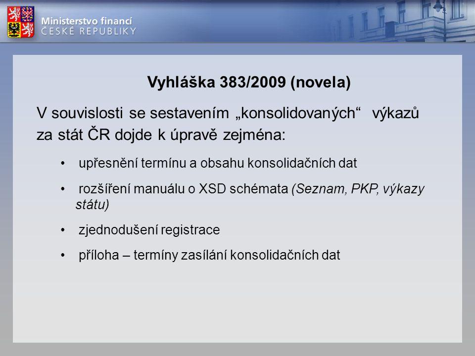 """V souvislosti se sestavením """"konsolidovaných"""" výkazů za stát ČR dojde k úpravě zejména: • upřesnění termínu a obsahu konsolidačních dat • rozšíření ma"""