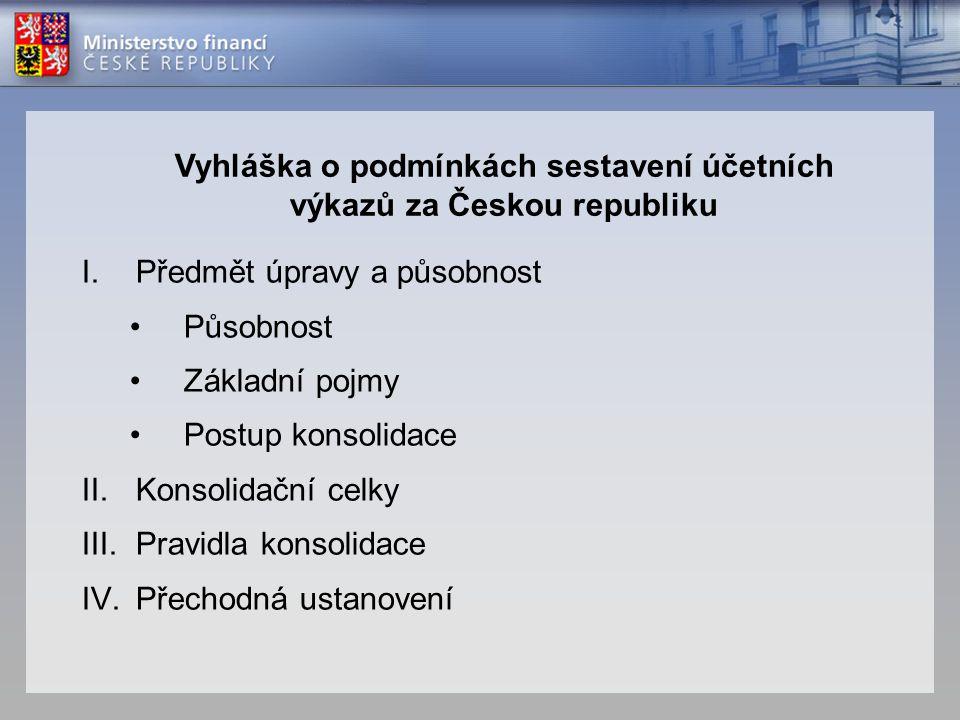 Konsolidační manuál Dle vyhlášky o podmínkách sestavení účetních výkazů za Českou republiku a)postupy při sestavování účetních výkazů za Českou republiku a obecné postupy při sestavování účetních výkazů za dílčí konsolidační celek státu, b)podrobný popis metod konsolidace, c)početní a jiné úpravy, d)pravidla použití postupů a úprav, e)rozsah a vzor pomocného konsolidačního přehledu a pomocného konsolidačního přehledu za dílčí konsolidační celek státu