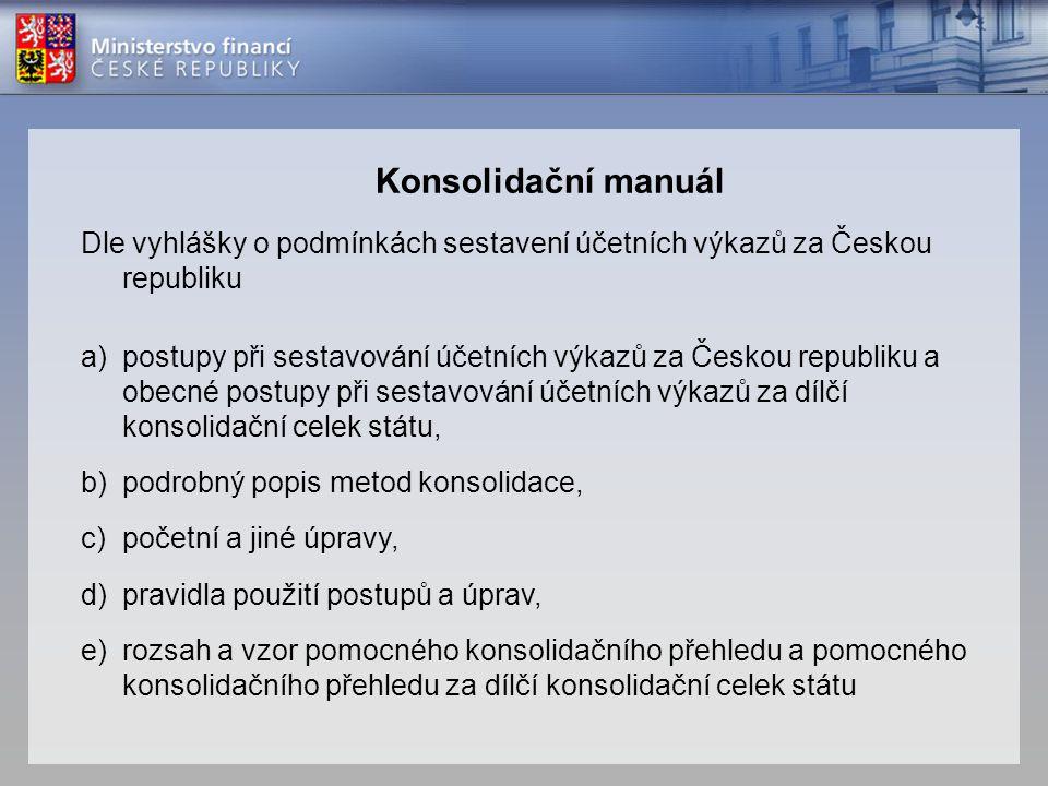 Konsolidační manuál Dle vyhlášky o podmínkách sestavení účetních výkazů za Českou republiku a)postupy při sestavování účetních výkazů za Českou republ