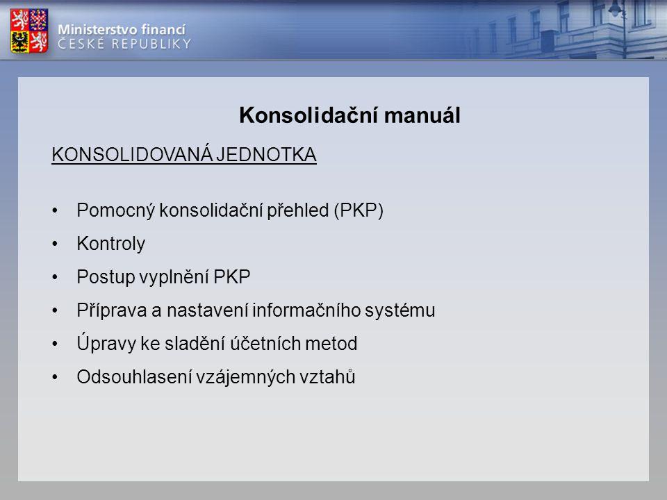 KONSOLIDOVANÁ JEDNOTKA •Pomocný konsolidační přehled (PKP) •Kontroly •Postup vyplnění PKP •Příprava a nastavení informačního systému •Úpravy ke sladěn