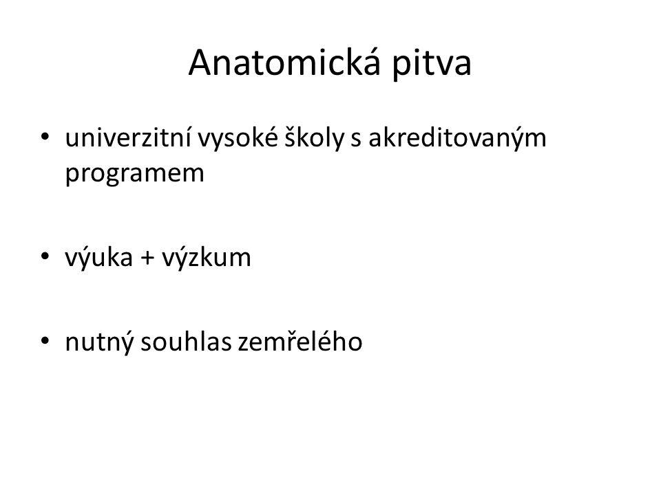 Anatomická pitva • univerzitní vysoké školy s akreditovaným programem • výuka + výzkum • nutný souhlas zemřelého