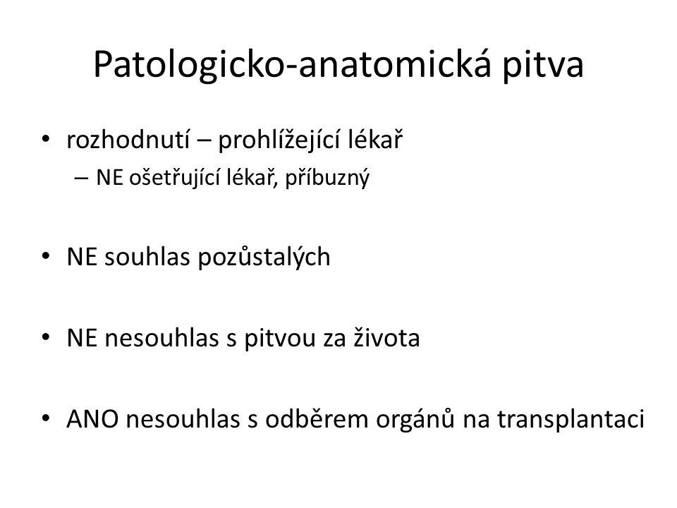 Patologicko-anatomická pitva • rozhodnutí – prohlížející lékař – NE ošetřující lékař, příbuzný • NE souhlas pozůstalých • NE nesouhlas s pitvou za živ