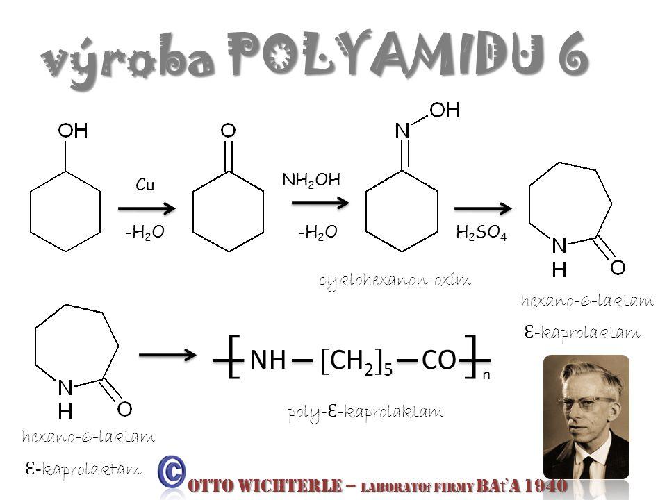 výroba POLYAMIDU 6 Cu -H 2 O NH 2 OH -H 2 OH 2 SO 4 cyklohexanon-oxim hexano-6-laktam Ɛ - kaprolaktam hexano-6-laktam Ɛ - kaprolaktam [ NH [ CH 2 ] 5