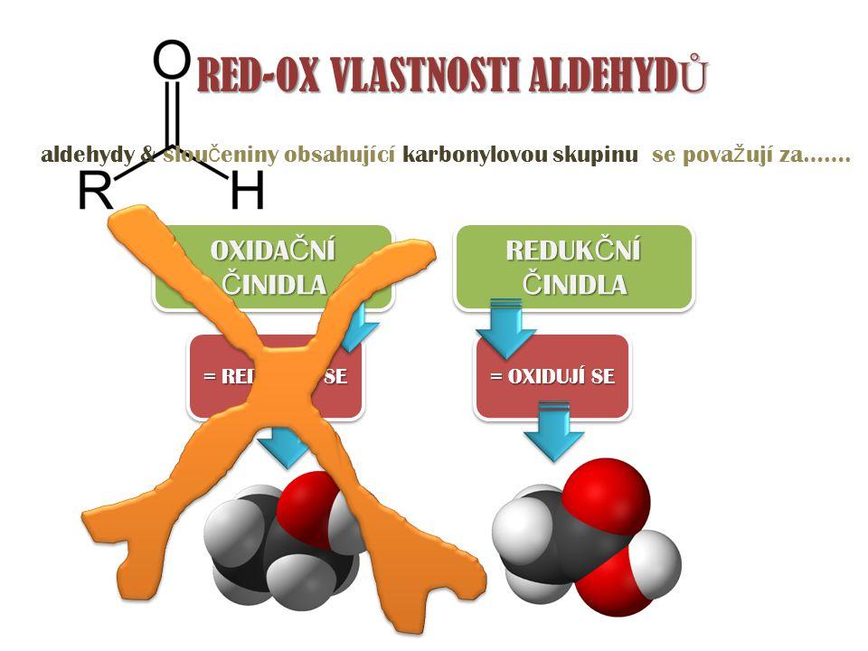 = REDUKUJÍ SE = OXIDUJÍ SE RED-OX VLASTNOSTI ALDEHYD Ů aldehydy & slou č eniny obsahující karbonylovou skupinu se pova ž ují za……. OXIDA Č NÍ Č INIDLA