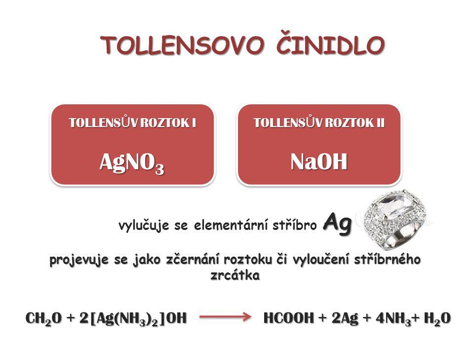 TOLLENSOVO ČINIDLO TOLLENS Ů V ROZTOK I AgNO 3 TOLLENS Ů V ROZTOK I AgNO 3 TOLLENS Ů V ROZTOK II NaOH NaOH Ag vylučuje se elementární stříbro Ag proje