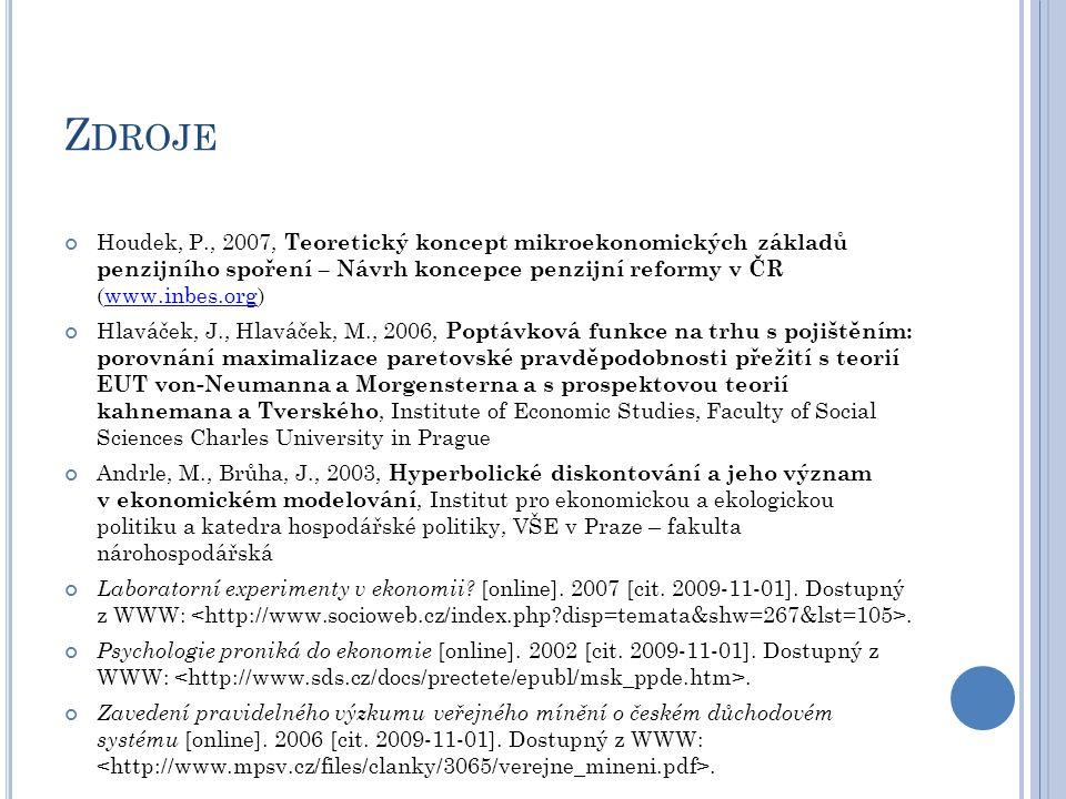 Z DROJE Houdek, P., 2007, Teoretický koncept mikroekonomických základů penzijního spoření – Návrh koncepce penzijní reformy v ČR (www.inbes.org)www.in