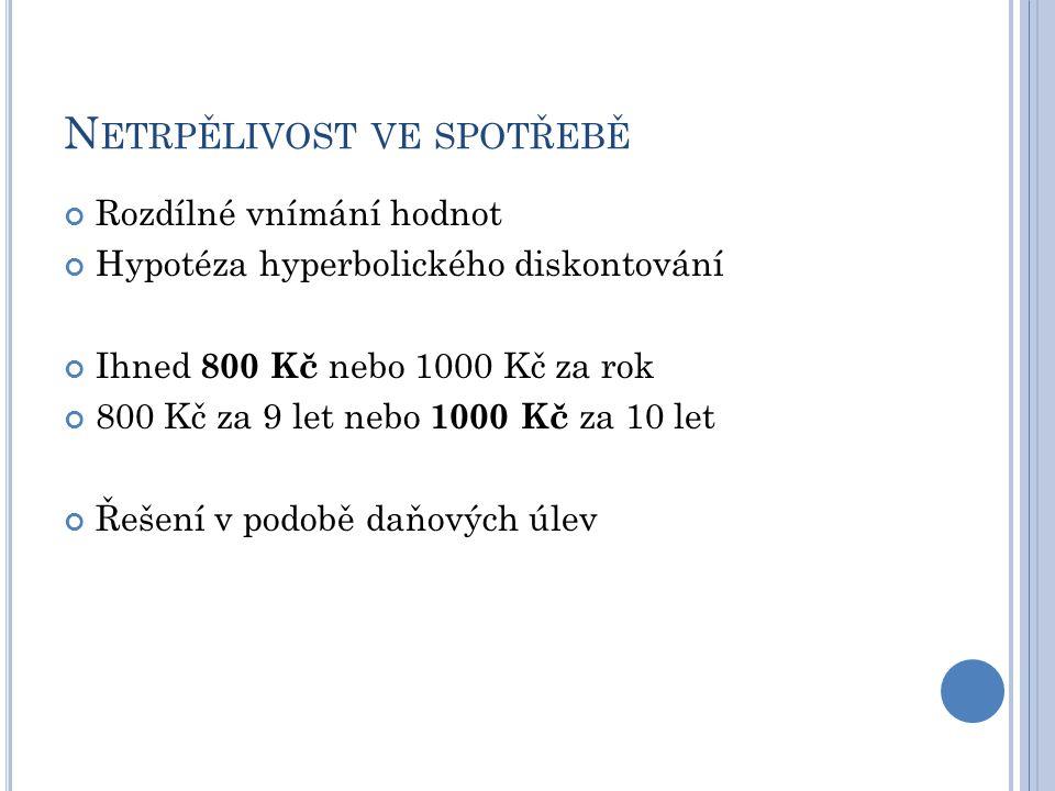 N ETRPĚLIVOST VE SPOTŘEBĚ Rozdílné vnímání hodnot Hypotéza hyperbolického diskontování Ihned 800 Kč nebo 1000 Kč za rok 800 Kč za 9 let nebo 1000 Kč z