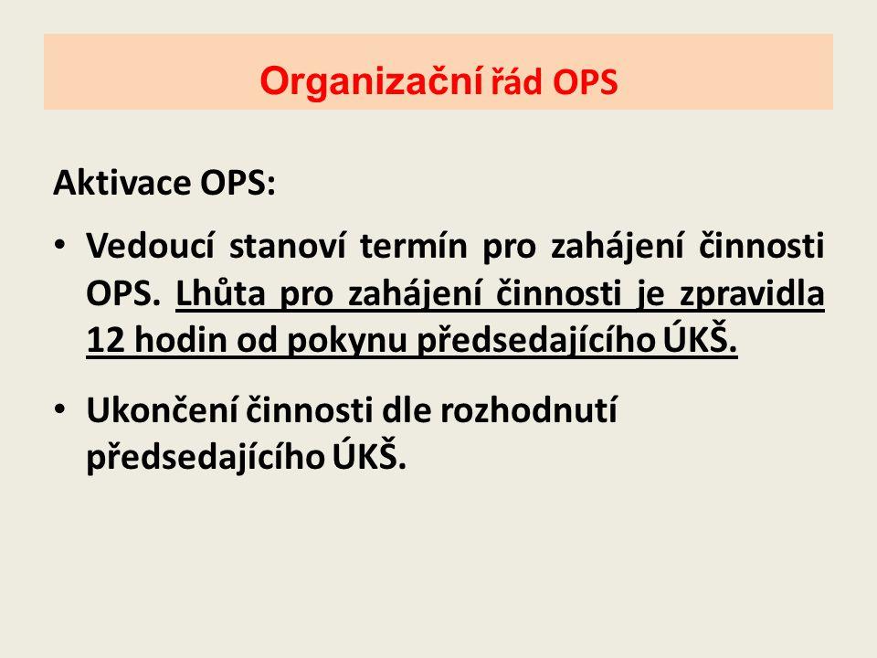 Aktivace OPS: • Vedoucí stanoví termín pro zahájení činnosti OPS. Lhůta pro zahájení činnosti je zpravidla 12 hodin od pokynu předsedajícího ÚKŠ. • Uk