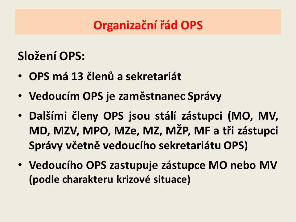 Složení OPS: • OPS má 13 členů a sekretariát • Vedoucím OPS je zaměstnanec Správy • Dalšími členy OPS jsou stálí zástupci (MO, MV, MD, MZV, MPO, MZe,