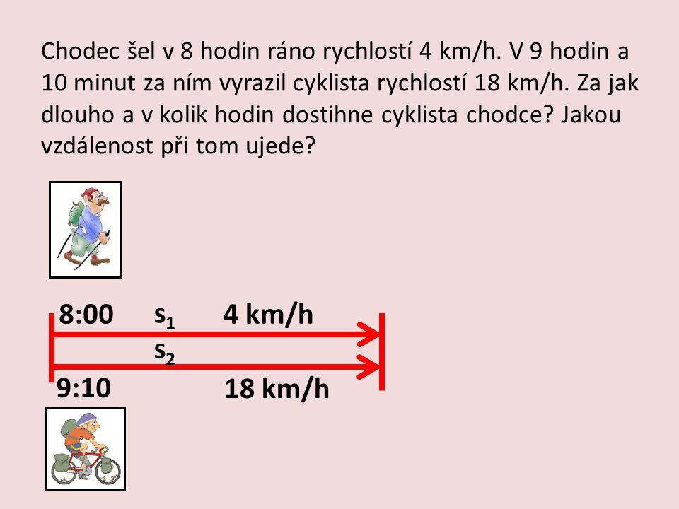Chodec šel v 8 hodin ráno rychlostí 4 km/h. V 9 hodin a 10 minut za ním vyrazil cyklista rychlostí 18 km/h. Za jak dlouho a v kolik hodin dostihne cyk