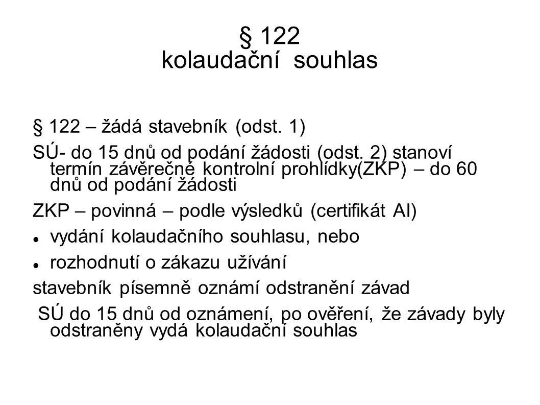 § 122 kolaudační souhlas § 122 – žádá stavebník (odst. 1) SÚ- do 15 dnů od podání žádosti (odst. 2) stanoví termín závěrečné kontrolní prohlídky(ZKP)