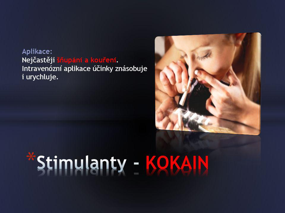 Aplikace: Nejčastěji šňupání a kouření. Intravenózní aplikace účinky znásobuje i urychluje.