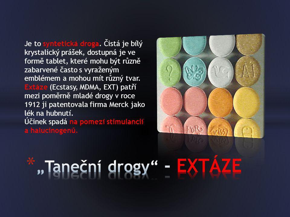 Je to syntetická droga. Čistá je bílý krystalický prášek, dostupná je ve formě tablet, které mohu být různě zabarvené často s vyraženým emblémem a moh