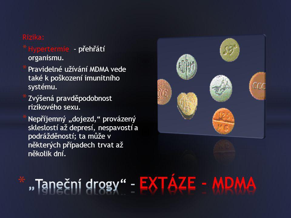 Rizika: * Hypertermie - přehřátí organismu. * Pravidelné užívání MDMA vede také k poškození imunitního systému. * Zvýšená pravděpodobnost rizikového s