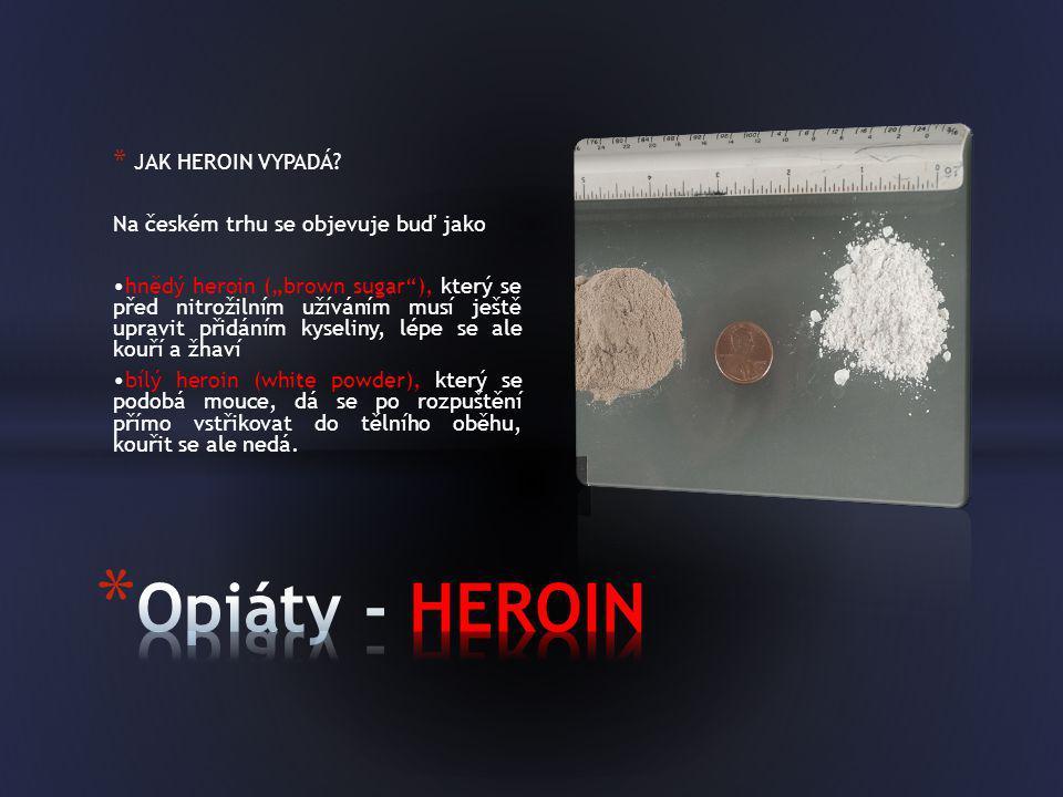 """* JAK HEROIN VYPADÁ? Na českém trhu se objevuje buď jako •hnědý heroin (""""brown sugar""""), který se před nitrožilním užíváním musí ještě upravit přidáním"""