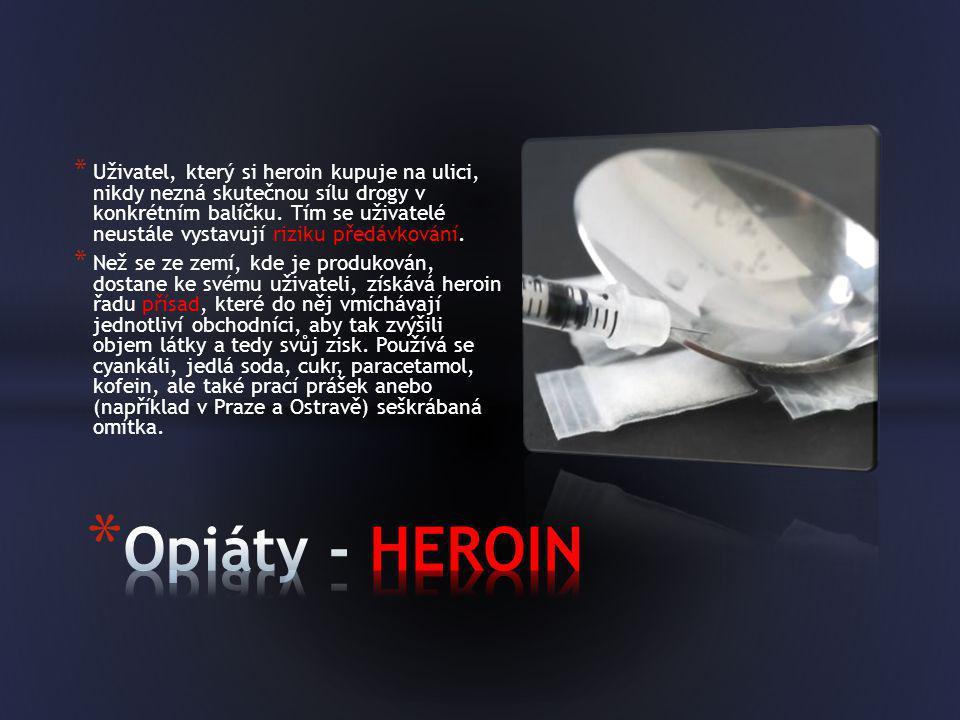 * Uživatel, který si heroin kupuje na ulici, nikdy nezná skutečnou sílu drogy v konkrétním balíčku. Tím se uživatelé neustále vystavují riziku předávk