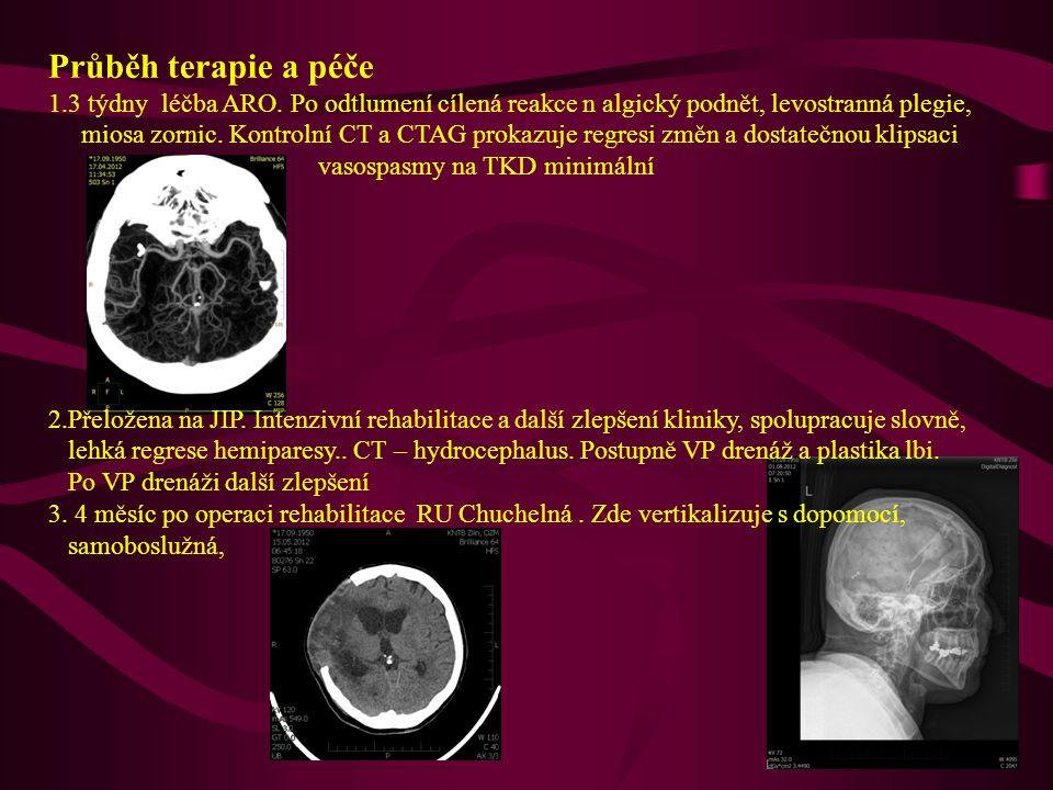 Průběh terapie a péče 1.3 týdny léčba ARO. Po odtlumení cílená reakce n algický podnět, levostranná plegie, miosa zornic. Kontrolní CT a CTAG prokazuj