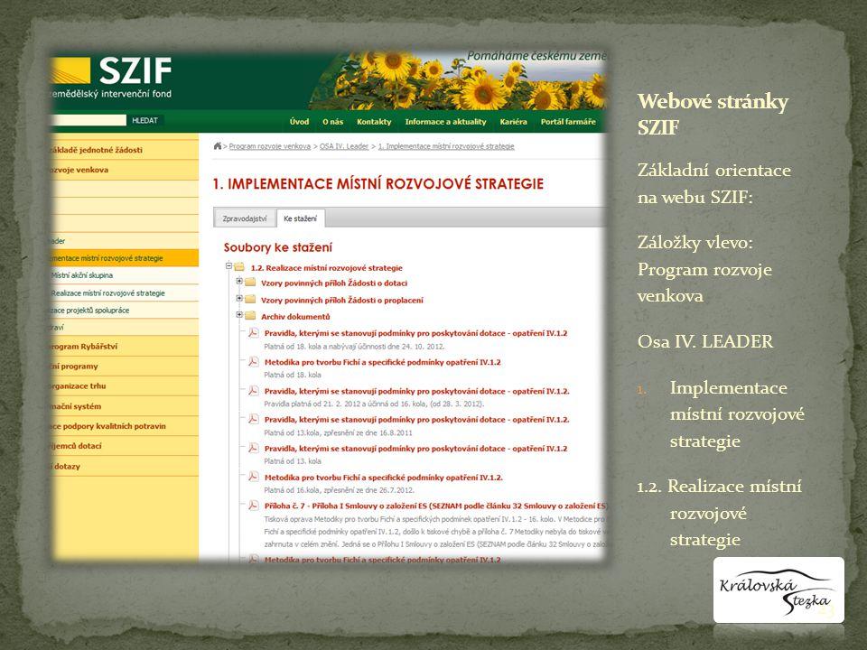 Základní orientace na webu SZIF: Záložky vlevo: Program rozvoje venkova Osa IV.