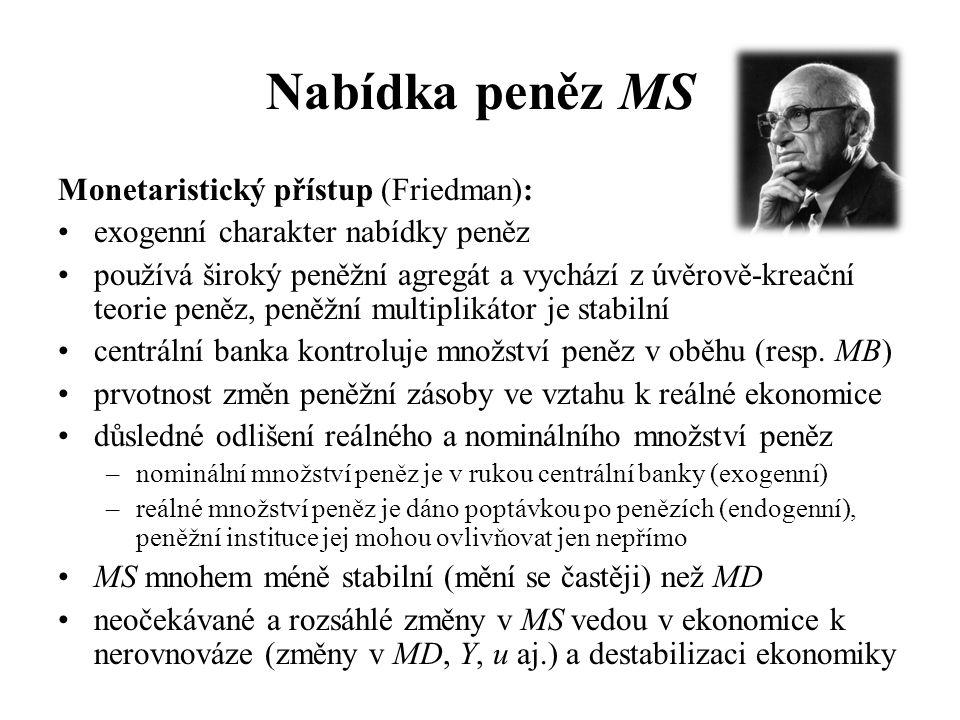 Nabídka peněz MS Monetaristický přístup (Friedman): •exogenní charakter nabídky peněz •používá široký peněžní agregát a vychází z úvěrově-kreační teorie peněz, peněžní multiplikátor je stabilní •centrální banka kontroluje množství peněz v oběhu (resp.