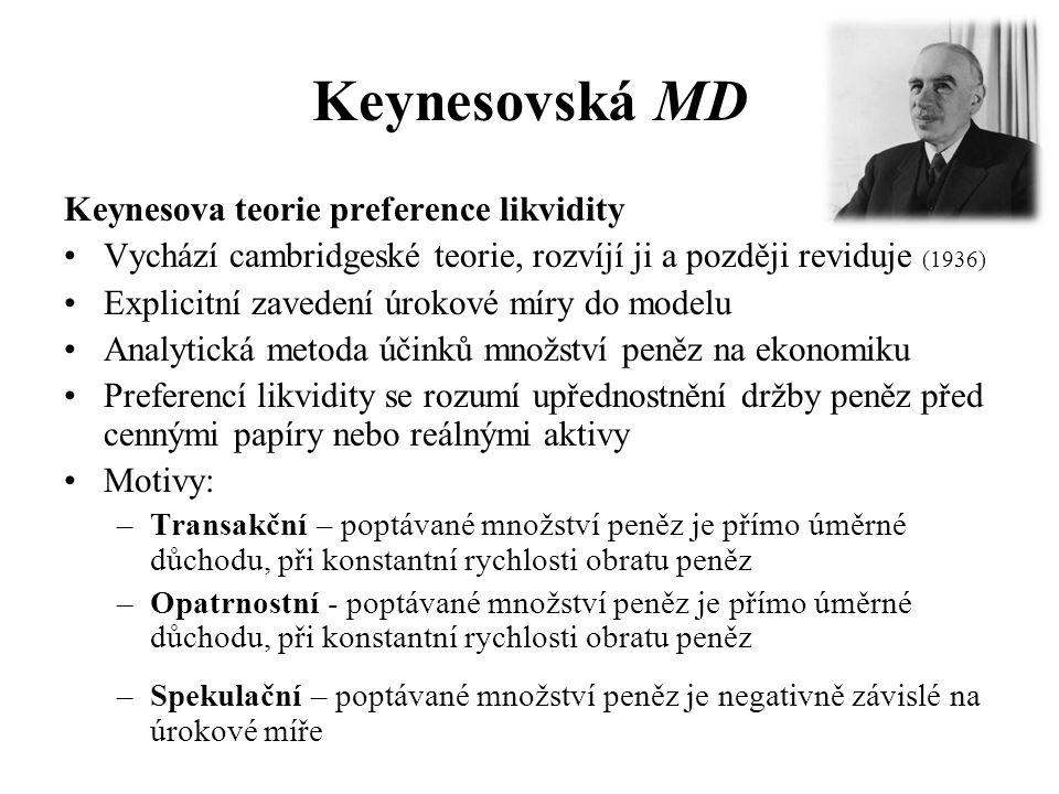 Keynesovská MD Keynesova teorie preference likvidity •Vychází cambridgeské teorie, rozvíjí ji a později reviduje (1936) •Explicitní zavedení úrokové míry do modelu •Analytická metoda účinků množství peněz na ekonomiku •Preferencí likvidity se rozumí upřednostnění držby peněz před cennými papíry nebo reálnými aktivy •Motivy: –Transakční – poptávané množství peněz je přímo úměrné důchodu, při konstantní rychlosti obratu peněz –Opatrnostní - poptávané množství peněz je přímo úměrné důchodu, při konstantní rychlosti obratu peněz –Spekulační – poptávané množství peněz je negativně závislé na úrokové míře