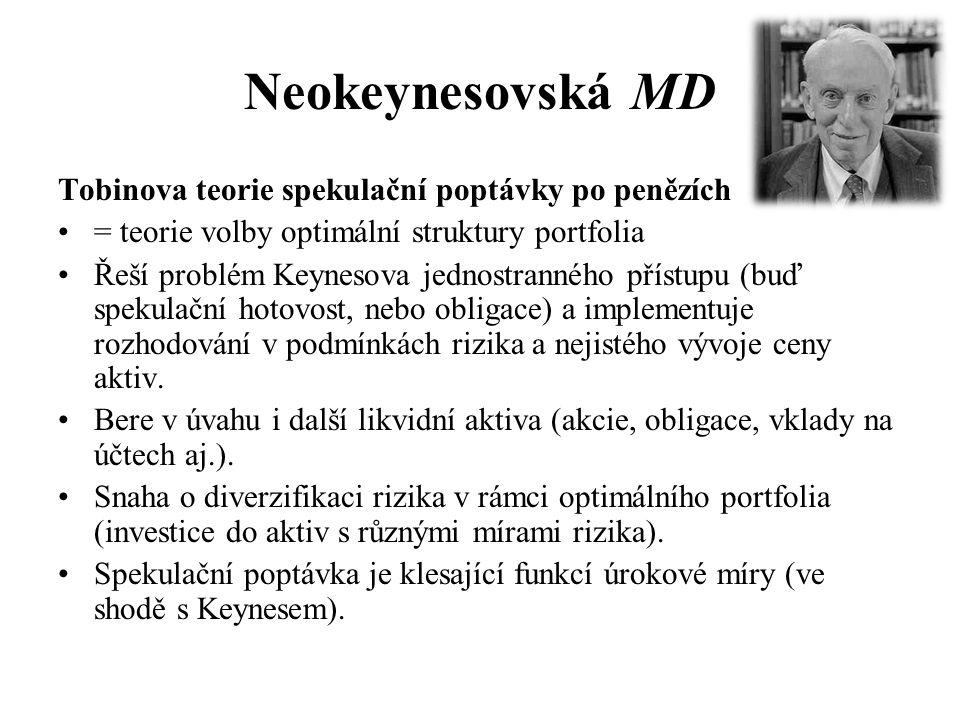 Neokeynesovská MD Tobinova teorie spekulační poptávky po penězích •= teorie volby optimální struktury portfolia •Řeší problém Keynesova jednostranného přístupu (buď spekulační hotovost, nebo obligace) a implementuje rozhodování v podmínkách rizika a nejistého vývoje ceny aktiv.