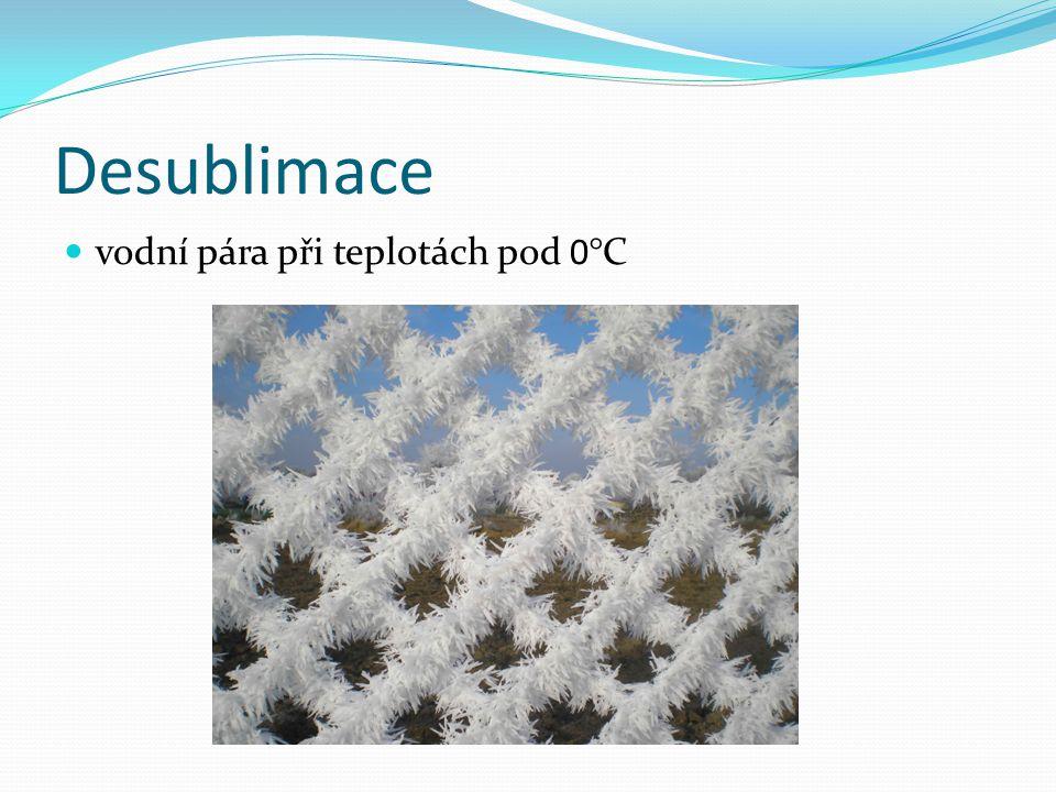 Desublimace  vodní pára při teplotách pod 0°C