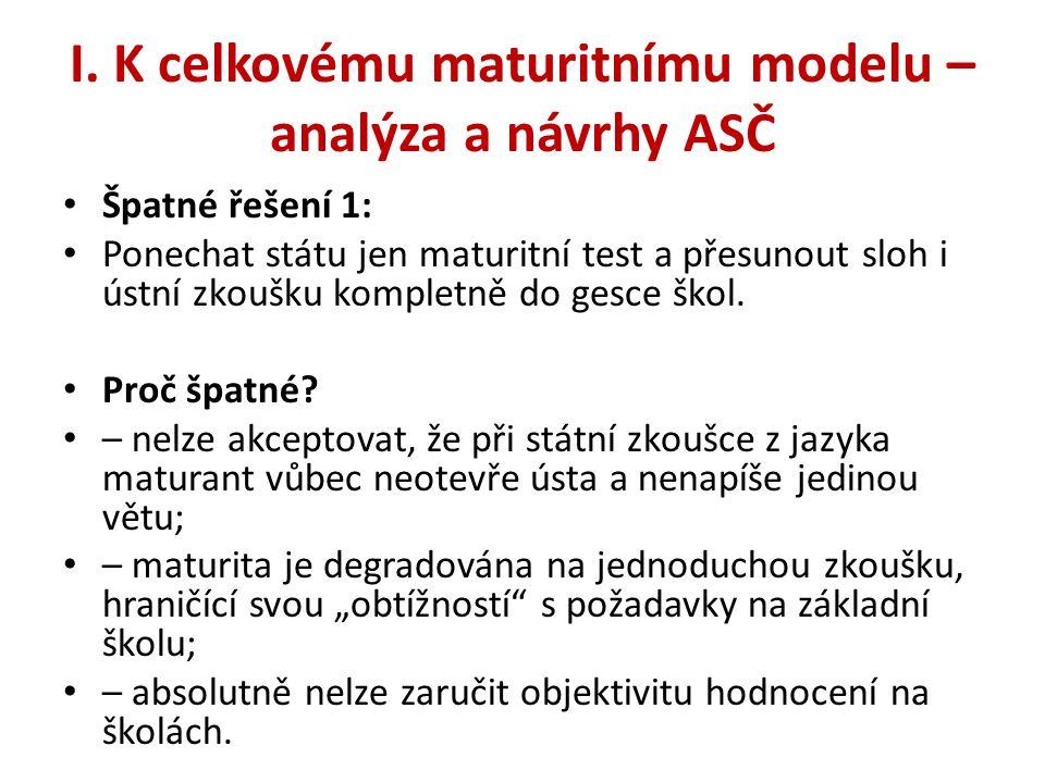 I. K celkovému maturitnímu modelu – analýza a návrhy ASČ • Špatné řešení 1: • Ponechat státu jen maturitní test a přesunout sloh i ústní zkoušku kompl