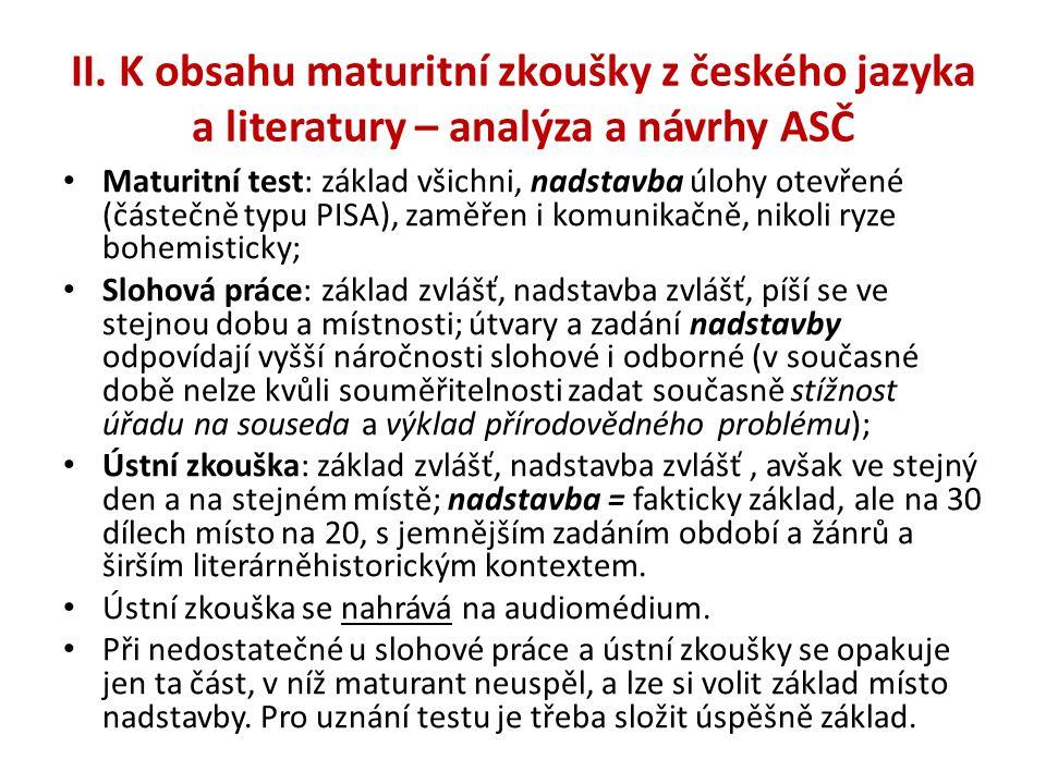 II. K obsahu maturitní zkoušky z českého jazyka a literatury – analýza a návrhy ASČ • Maturitní test: základ všichni, nadstavba úlohy otevřené (částeč