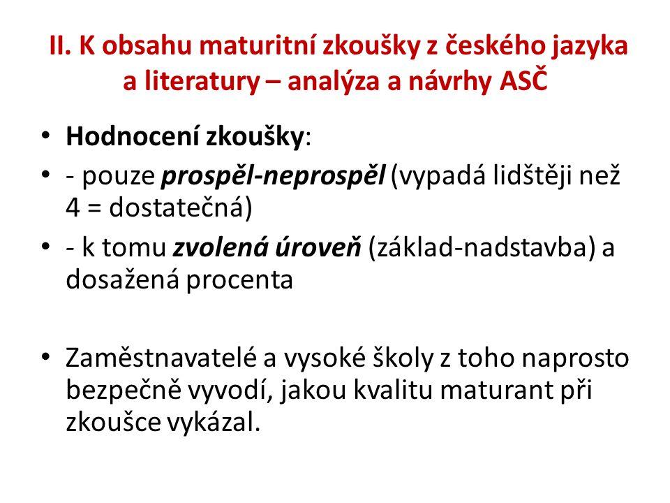 II. K obsahu maturitní zkoušky z českého jazyka a literatury – analýza a návrhy ASČ • Hodnocení zkoušky: • - pouze prospěl-neprospěl (vypadá lidštěji