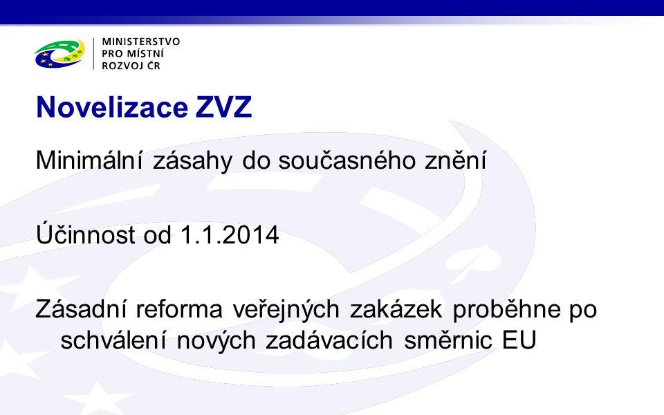 Minimální zásahy do současného znění Účinnost od 1.1.2014 Zásadní reforma veřejných zakázek proběhne po schválení nových zadávacích směrnic EU Novelizace ZVZ