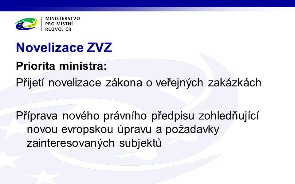 Priorita ministra: Přijetí novelizace zákona o veřejných zakázkách Příprava nového právního předpisu zohledňující novou evropskou úpravu a požadavky zainteresovaných subjektů Novelizace ZVZ
