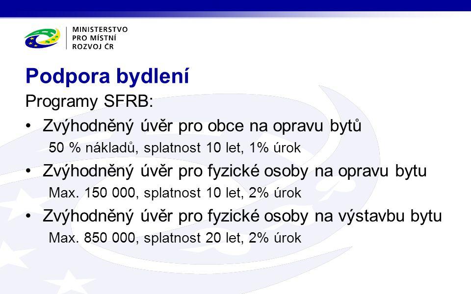 Programy SFRB: •Zvýhodněný úvěr pro obce na opravu bytů 50 % nákladů, splatnost 10 let, 1% úrok •Zvýhodněný úvěr pro fyzické osoby na opravu bytu Max.