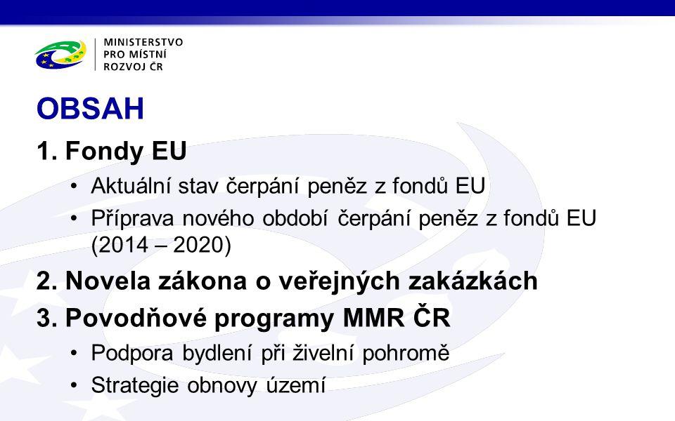 1. Fondy EU •Aktuální stav čerpání peněz z fondů EU •Příprava nového období čerpání peněz z fondů EU (2014 – 2020) 2. Novela zákona o veřejných zakázk