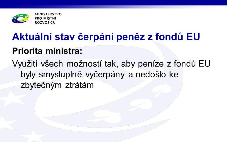 Priorita ministra: Využití všech možností tak, aby peníze z fondů EU byly smysluplně vyčerpány a nedošlo ke zbytečným ztrátám Aktuální stav čerpání peněz z fondů EU