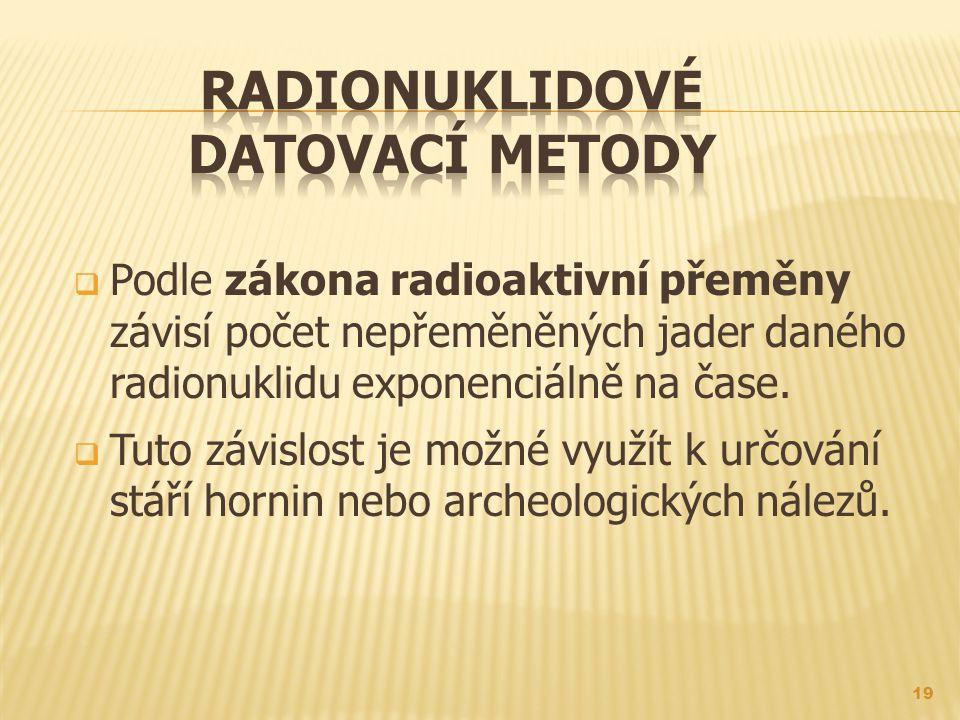  Podle zákona radioaktivní přeměny závisí počet nepřeměněných jader daného radionuklidu exponenciálně na čase.