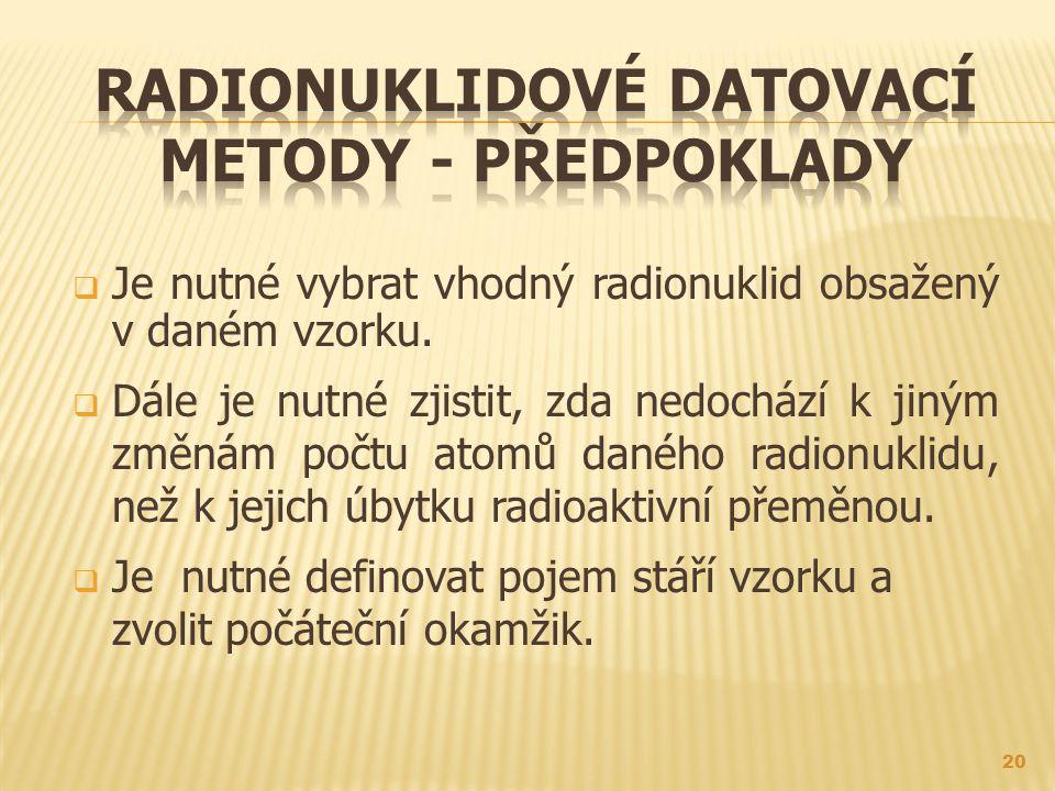  Je nutné vybrat vhodný radionuklid obsažený v daném vzorku.
